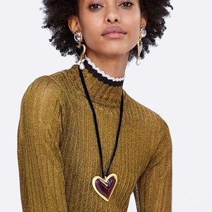 Zara Chunky Gold Black Hearts water Long earrings